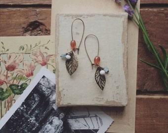 Beaded Leaf Earrings, Long Fililgree Leaf Earrings Made With Vintage Beads, Dangle Earrings, Bohemian Jewelry for Women