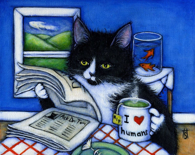 Tuxedo cat print. Breakfast with Charlie