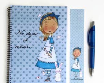 Alice notebook, Alice in Wonderland notebook, Illustrated notebook, Alice in Wonderland, follow white rabbit, Alice in Wonderland complement