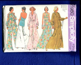 1970's Simplicity 5980 Palazzo Pants Tunic Length Halter Top & Over Skirt Size 10