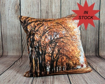 """Fall Leaf Decor Photo Pillow Case, 14x14"""" Autumn Leaves Accent Pillows, Fall Rustic Decor, Home Decor Outdoorsman Gifts Handmade in Canada"""