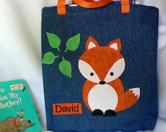 Fox Book Bag|Kids Personalized Book Bag|Toddler Book Bag|Children's Book Bag|Trick or Treat|Party Gift|Library Book Bag|Preschool Book Bag