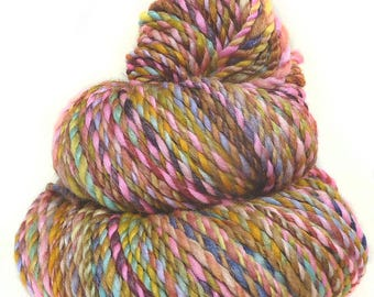 Handspun Yarn handdyed merino wool bamboo and silk