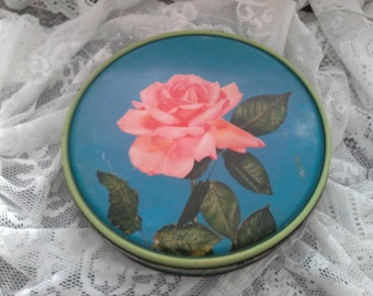 Canco Vintage Mid Century Tin with Pink Rose