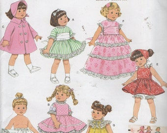 """8""""  Doll  Clothes  Sewing Pattern, Dress, Petticoat, Coat, Hat, Sundress, Nightgown  Simplicity Archive 3576 , Uncut"""