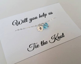 Flower Girl Bracelet - Weding Gift, Personalized FLOWER Initial & Birthstone, Junior Bridesmaid Gift - Will You  Help Me Tie The Knot!