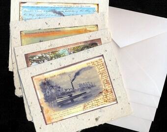 Vintage Florida River Scenes Handmade Paper Notecards- Blank Inside - Set of 4 with Envelopes