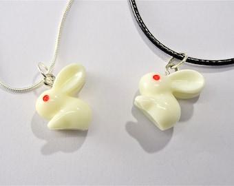 White Rabbit Pendant Necklace, Super cute Rabbit Charm Necklace, Lolita Bunny Necklace