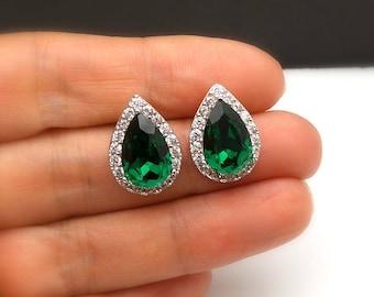 CLIP ONS bridal wedding christmas prom jewelry Swarovski emerald green teardrop crystal rhinestone rhodium silver earrings cubic setting