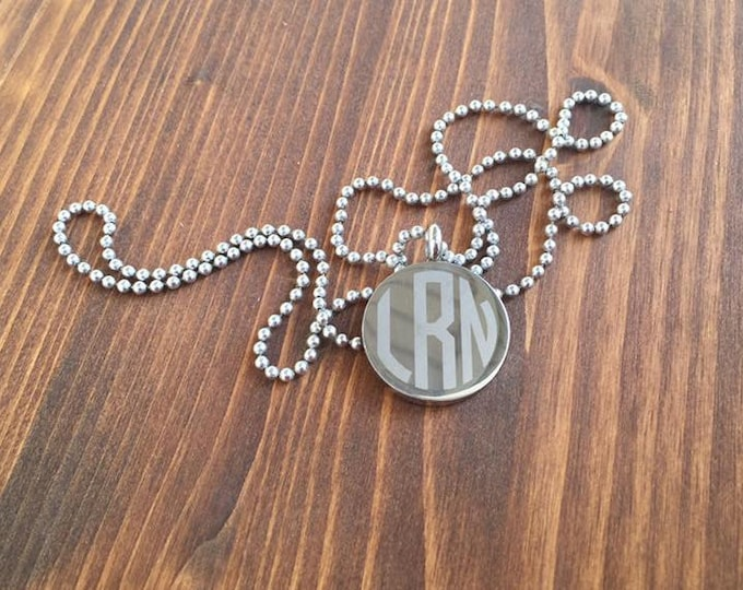 """Engraved 3 Letter Circle Monogram Stainless Steel Disc Necklace 18"""" 24"""" Chain"""