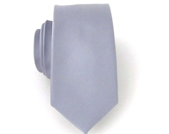 Grey Silk Mens Skinny Necktie With *FREE* Matching Pocket Square Set