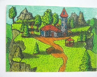 "Fantasy art print from original ACEO ink and color pencil drawing ""Camp Anthulje post guard"", Fantasy series- ExiArts print"