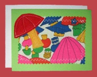 Vintage Mushrooms Applique Blank Green Notecard