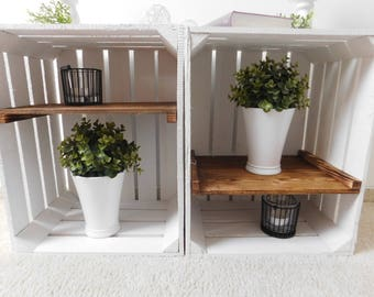"""Decorative white fruit crates/wooden crates with intermediate floor (flamed) """"Shabby chic"""""""