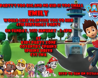 Paw Patrol - Personalised Children's Party Invitations - Pack of 10