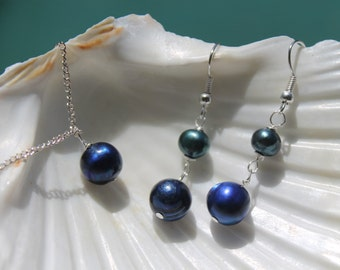 Beach Wedding, Blue Pearl Earrings Necklace Set, Bridal Set, Wedding Pearls Set, Bridesmade Gift, Natural Gemstone Jewelry, Dangle Earrings