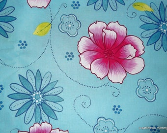 One Yard Blue Floral Brother And Sister Design Fabric ~CLEARANCE SALE~