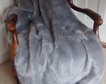 Powder Puff Grey (silver) Faux Fur Throw