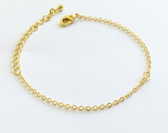 10 Gold Charm Bracelet Chain Lobster Clasp in Shiny Gold brass bar chain Bracelet components 10PBR-G