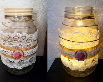 Mason Jar - Vintage Lace Cream and Gold