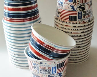 1 Set of PATRIOTIC Red White & Blue Stripe Party Cups Snack Cups Ice Cream Cups Dessert Bowls - USA, Superhero Birthday Party, American Flag