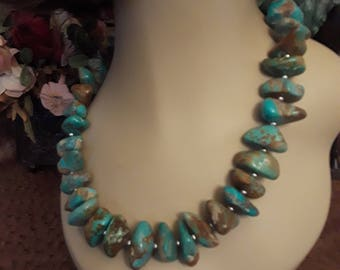 Natural turquoise nugget necklace