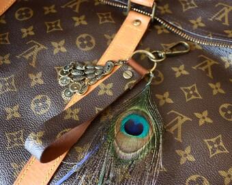 100% authentic Louis vuitton Monogram canvas-upcycled-Bag Pendant key fob _ Louis Peacock 2