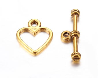 5 Heart Toggle Clasps in Gold