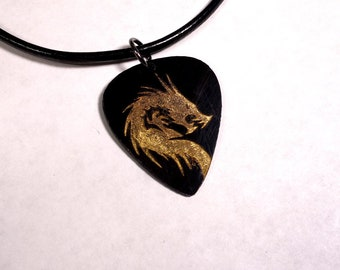SALE - Engraved Dragon Plastic Guitar Pick Necklace or Pendant, black and gold