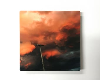 Chinatown Golden Hour - Photograph of Orange Clouds and Telephone Pole Infused on Matte Metal