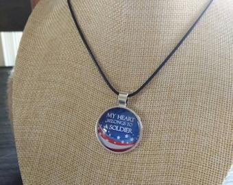My Heart Belongs to a Soldier pendant and necklace