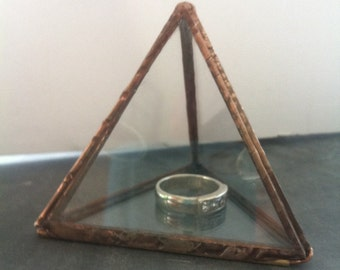 Glass ring proposal box ,glass gift box, copper pyramid box, ring bearer , jewellery box, wedding ring box, engagement box, glass container