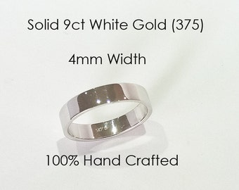 9ct 375 Solid White Gold Ring Wedding Engagement Friendship Friend Flat Band NEW 4mm