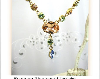 Vintage Suzanne Bjontegard Peach and Pale Green Rhinestone and Gold Necklace Pale Peach Matching pierced earrings