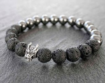 Dragon bracelet Mens bracelet mala Black lava, Sterling silver dragon head & hematite mala bracelet Mens spiritual bracelet Gift for him
