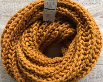 Crochet Chunky Brioche Infinity Scarf | mustard/ Butterscotch | Ready To Ship!