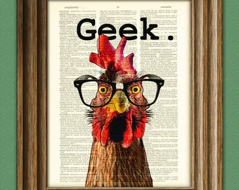 The Chicken Geek in black nerd glasses illustration beautifully upcycled dictionary page book art print