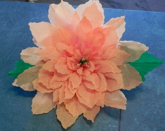"X Large Mexican Crepe Paper Flower Autum Poinsettia 13"" Diameter Christmas Decor Wall Hanging"