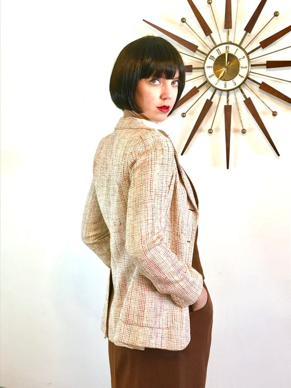 Silk Boucle blazer, 70s Womens jacket, Vintage Bloomingdales, Raw Silk Blazer, Fitted Ladies Cut,Nubby textured blazer, 80s Preppy jacket, 4