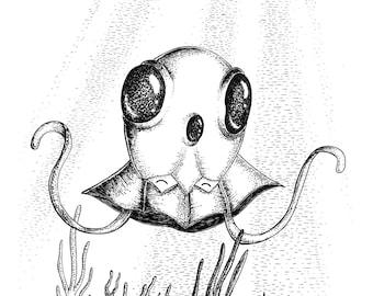 Tentacool- A3 pokemon inspired art print by Jon Turner- cute geeky artwork- FREE WORLDWIDE SHIPPING