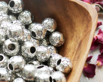 set of 5, soccer ball beads, large hole beads, football beads, ball beads, round beads, antique silver beads, european soccer,  11mm x 11mm