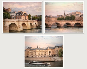 Triptych Large wall art Set of 3 prints Paris photography Architectural prints Gallery wall set Pont Neuf Living room decor, cityscape 16x20