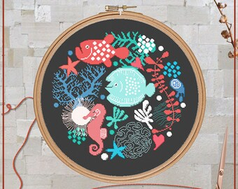 Fish cross stitch, Sea cross stitch, Ocean cross stitch, Marine life, Sea life, Sea animals, Under the sea, Seahorse, Cross stitch chart,PDF