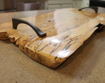 Ambrosia spalted maple bread board serving tray with handles