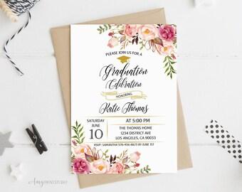 Graduation Invitation, Graduation Party Invite, Floral Graduation Invitation, PERSONALIZED, Digital file, #G04