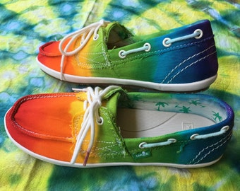 Tie Dyed Sanuk Women's Boat Shoes ~ Size 6.5 ~ 6 1/2