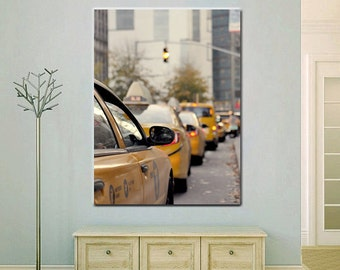 New York canvas, New York City street art, modern artwork, vertical large wall art yellow cab, nyc taxi cars, entryway staircase wall decor