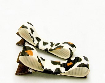 Leopard Tuxedo Bows, Animal Print Leopard Clippies, Ivory, Brown Leopard Clips Baby Toddler Girls, Ready to Ship Hair Clips for Girls