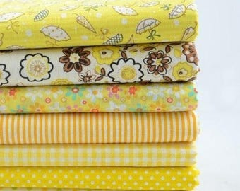 Set of 7 Coupons fabric Quilt/sewing 50 X 50 Cm yellow brown tones
