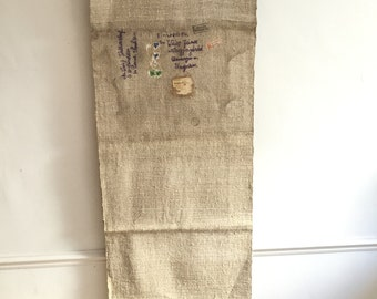 Historic Wall Hanging Second World War Refugees Hungarian Address Postage Stamp Fabric Natural Beige Vintage Linen Grainsack Fabric Sack